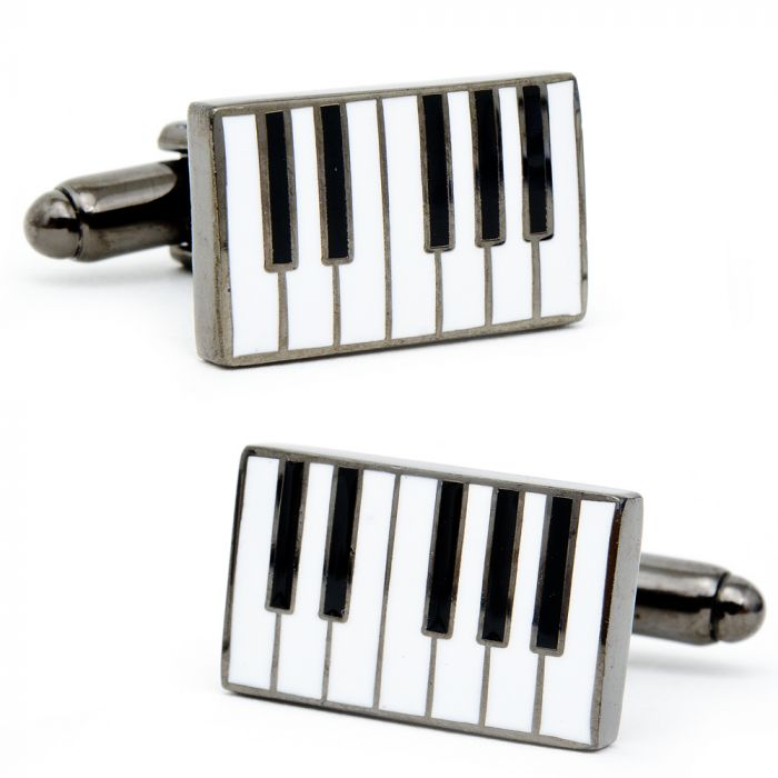 Music Piano Keys Gold-tone Cufflinks Money Clip Engraved Gift Set