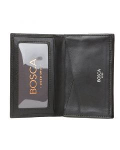 Black Nappa Vitello Full Gusset, 2 Pocket Card Case
