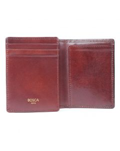 Dark Brown Old Leather Classic Front Pocket ID Wallet