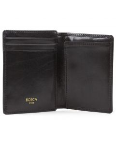 Black Old Leather Front Pocket ID Wallet