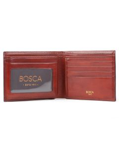 Cognac Old Leather Classic Bifold with Card/I.D. Flap Wallet