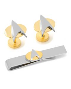 Star Trek Two Tone Delta Shield Cufflinks Tie Bar Gift Set