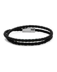 Black Leather and Sterling Silver Pop Rigato Bracelet (39cm)