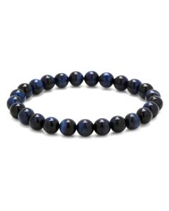 8mm Blue Tiger's Eye Beaded Elastic Bracelet