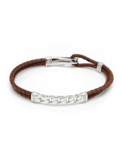 Sterling Chain and Hook Leather Bracelet