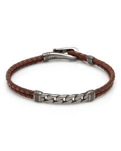 Gunmetal Chain and Hook Leather Bracelet
