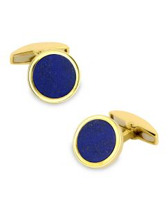 18K Gold Cufflinks with Lapis Lasuli Inlay