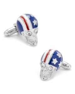 Stars and Stripes Skull Helmet Cufflinks