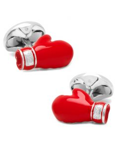 Sterling Silver Red Boxing Glove Cufflinks