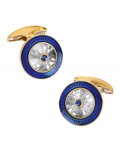 18K Gold Round Crystal Cufflinks with Sapphire Center