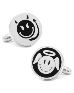 Angel and Devil Smiley Face Cufflinks