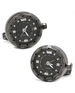 Gunmetal Stainless Steel Small Face Watch Cufflinks