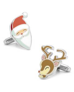 Retro Santa and Rudolph Cufflinks Pair