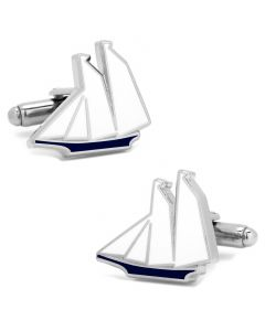 Blue and White Sailboat Cufflinks