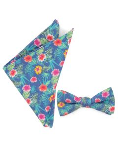 Tropical Bow Tie and Pocket Square Gift Set