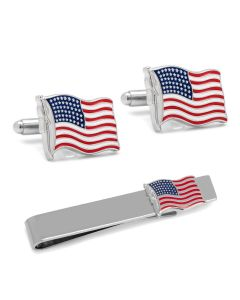 American Waving Flag Cufflinks and Tie Bar Gift Set