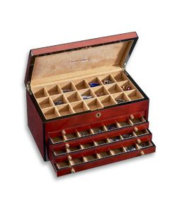 Venlo Triple Burlwood Cufflink Collectors Trunk