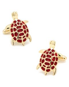 Red and Gold Turtle Cufflinks