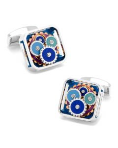 Blue Enamel Gear Cufflinks