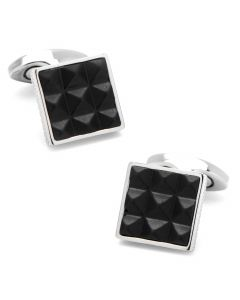 Pyramids Leather and Titanium Cufflinks