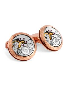 Rose Gold Plated Silver Vintage Skeleton Movement Cufflinks