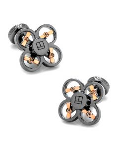 Gunmetal Plated Mini Drone Cufflinks