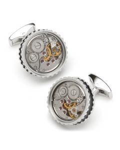 Round Skeleton Gear Cufflinks with Enamel Edge