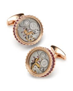 Round Skeleton Pink/Gold Gear Cufflinks with Enamel Edge