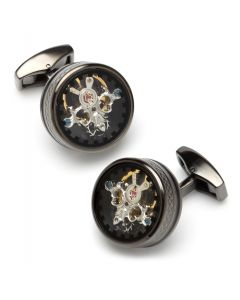 Single Tourbillion Gear Cufflinks in Gunmetal/Black Enamel