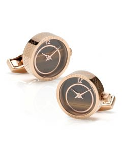 Prezioso Rose Gold & Tiger Eye Watch Cufflinks