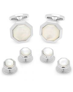 Octagon Mother of Pearl Tuxedo Stud Set
