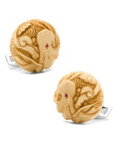 Woolly Mammoth Tusk Octopus with Ruby Eyes Cufflinks