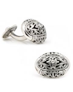 Konstantino Sterling Oval Scroll Cufflinks