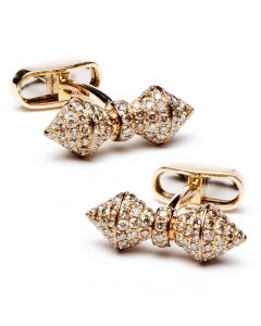 18K Rose Gold Diamond Barbell Cufflinks