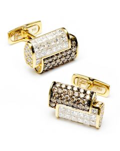 2-Tone Diamond Interlocked Cufflinks