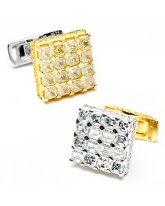 2-Tone Left and Right Diamond Cufflinks