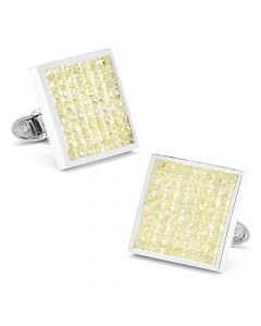 Canary Diamond Square Cufflinks