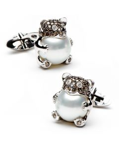 Chocolate Diamond & Pearl Bear Hug Cufflinks