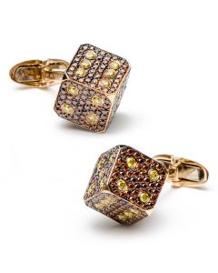 Cognac & Canary Diamond Dice Cufflinks