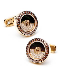 Cognac Diamond Moving Rotor Cufflinks