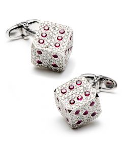 Diamond & Ruby Dice Cufflinks