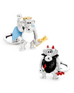 Moving Angel and Devil Monkey Cufflinks