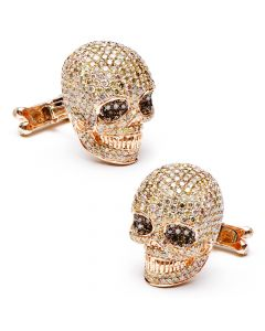 Rose Gold Diamond Skull Cufflinks