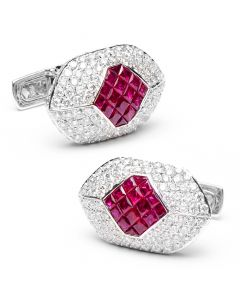 Diamond & Ruby Eyelet Cufflinks