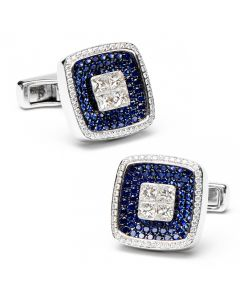 Sapphires & Diamond Square Cufflinks
