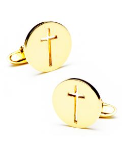 Round 18K Gold Cut Out Cross Cufflinks
