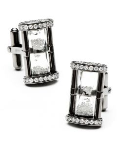 Gunmetal Diamond Hourglass Cufflinks
