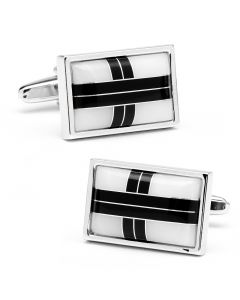 Onyx & MOP Cross Roads Cufflinks