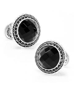 Konstantino Round Faceted Onyx Cufflinks