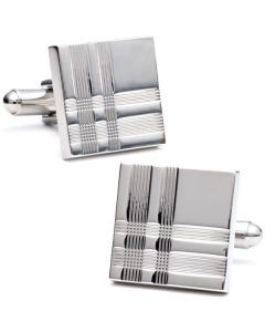 Plaid Silver Square Cufflinks